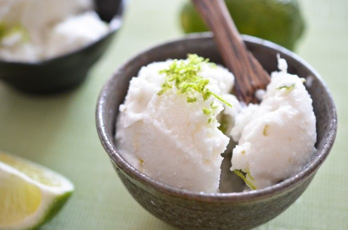 Lime Coconut Sorbet by theendlessmeal: Made of unsweetened coconut milk, water, limes and sugar.