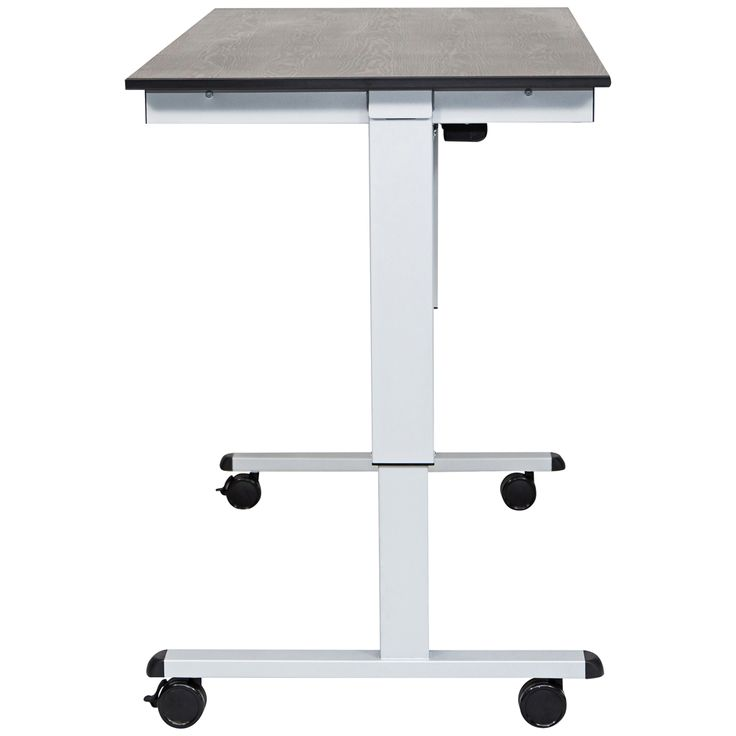Upas Silver and Black Large Electric Standing Desk - Style # 33X22