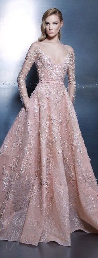 The gown boutique. Ziad Nakad Haute Couture 2015 Blush pink Gown