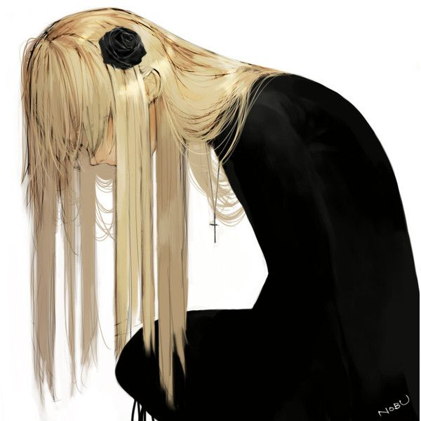 Safebooru - Anime picture search engine! - black dress black rose (flower) blonde hair cross crucifix dress flower gothic hair flower hair ornament jewelry long hair looking down necklace nobusnow original simple background solo | 515132 found on Polyvore