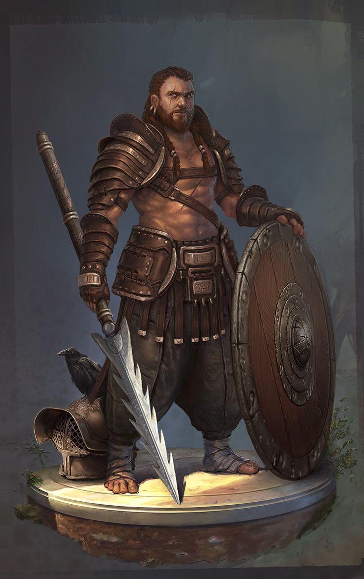 Bárbaro gladiador, decepador de cabeças vazias, coração frio, sedendo por sangue, usando uma lança longa especia e um escudo grande