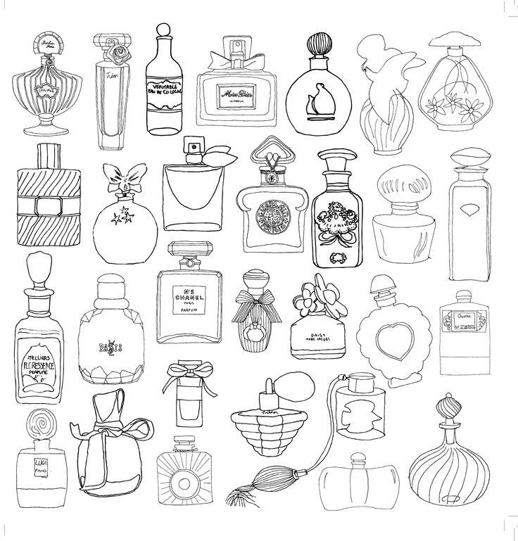 PERFUME BOTTLES - parfum perfume coloriage adulte anti stress paris fashion adult coloring