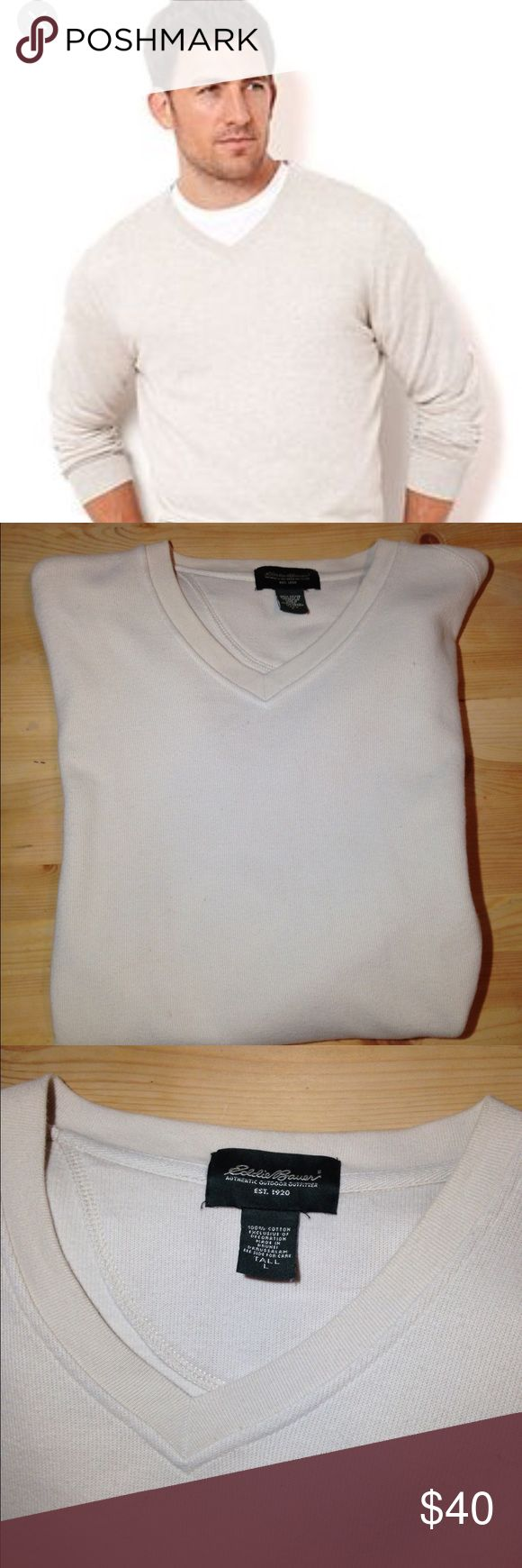 ❤️Large Tall Men's Eddie Bauer V Neck pullover ❤️❤️❤️Large Tall Men's Eddie Bauer Cream V-Neck similar to the better sweater weave by Patagonia but not thick its a sweatshirt type . Like new no stains smoke pet free• long sleeves• 100% cotton• Eddie Bauer Sweaters