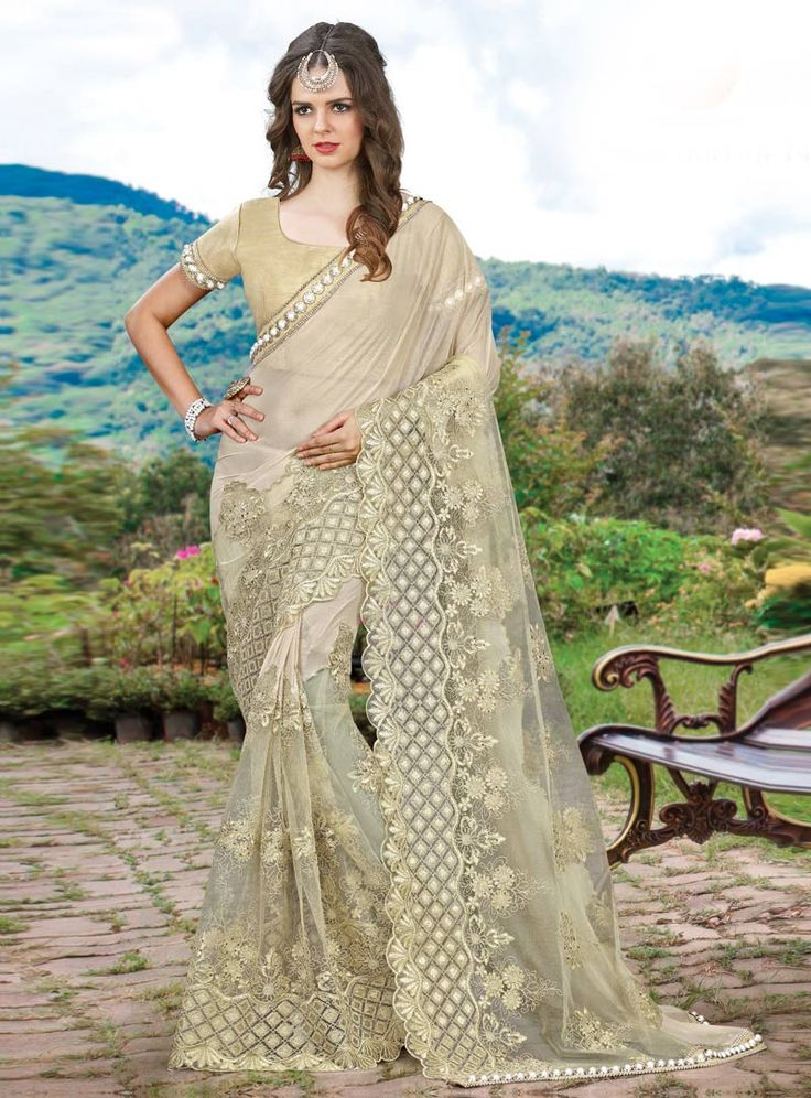 Off White Net Festival Wear Saree 85015