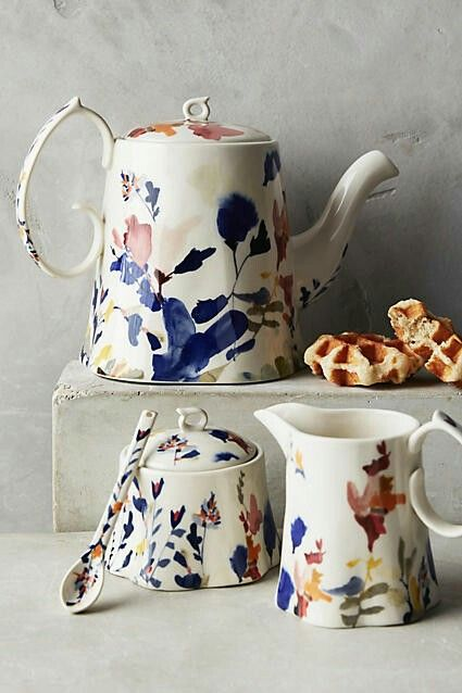 I'll take them all please! Wildflower Study #Teapot Collection by Jen Garrido #anthrologie