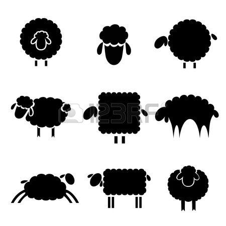 silueta en negro de ovejas sobre un fondo claro Foto de archivo