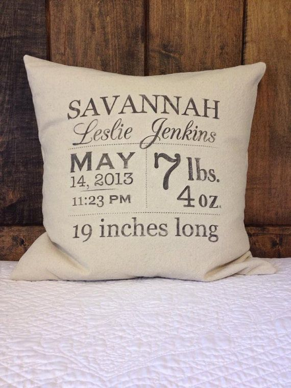 Baby Stats personalized pillow cover Birth Stats by FaithHomeLove