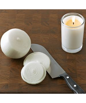Candle as Tear Prevention- I hate chopping onions cause of the tears and will try anything once to see if it helps!!  Stop the waterworks that normally accompany chopping onions with a candle. The flame burns off some of the fumes and carries away the rest.