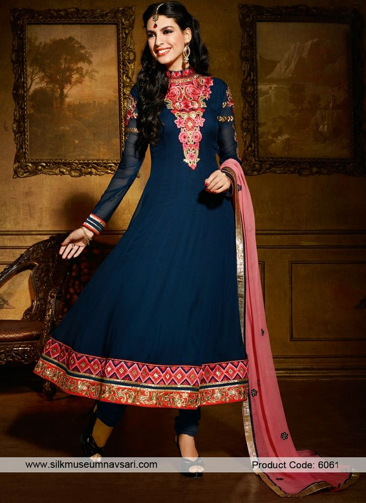 Charming Navy Blue Colour And Resham Work Designer Suit