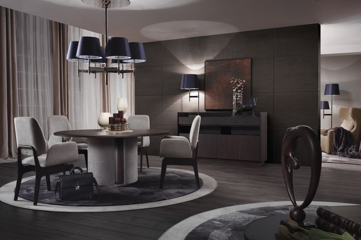 BYRON round dining table in matt tobacco rosewood, KATE chairs in grey Nabuk leather
