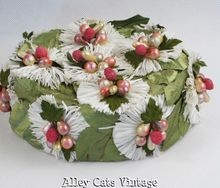 1960s Hat Green Leaf and Fruit Covered Pillbox