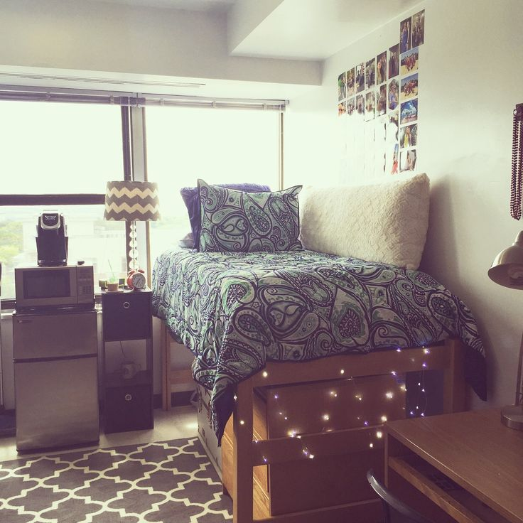 college bedroom. Microwave, Keurig, Fridge, Christmas Lights. Perfect · College FridgeCollege Dorm Bedroom