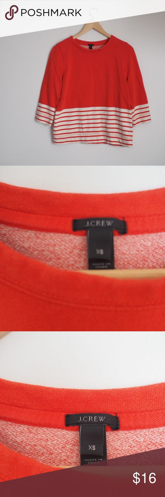 J. Crew Red Stripe crop sweatshirt Excellent condition red orange color cropped style sweatshirt with crew neck and oversized slouchy look. Super soft and cozy. No rips, stains or holes, Like new! J. Crew Tops Sweatshirts & Hoodies