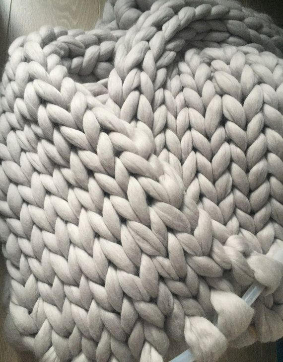 Super chunky blanket, Wool throw, Hand knit blanket, Warm blanket, FREE Shipping