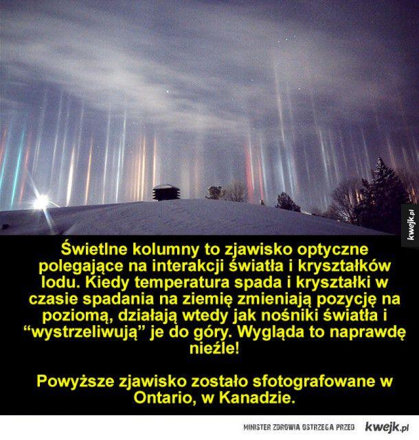Świetlne kolumny - niesamowite zjawisko optyczne