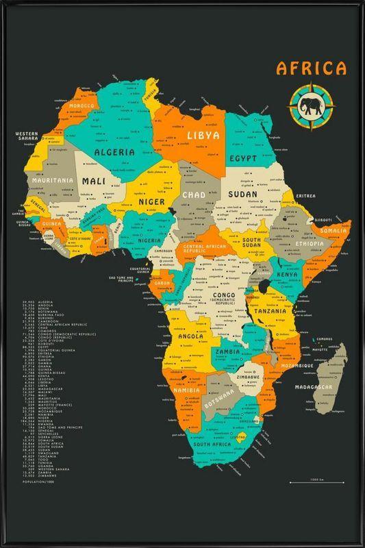 Africa Map Als Poster Im Kunststoffrahmen Von Jazzberry Blue