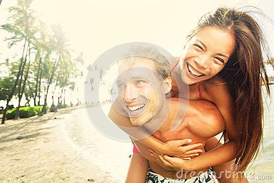 Happy Young Joyful Couple Beach Fun Laughing - Download From Over 50 Million High Quality Stock Photos, Images, Vectors. Sign up for FREE today. Image: 31351757