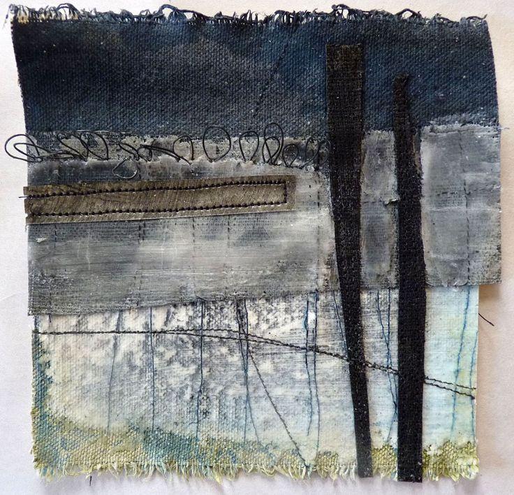 Marshscape Collage #2, Cotton duck, linen, wax, metal, found thread