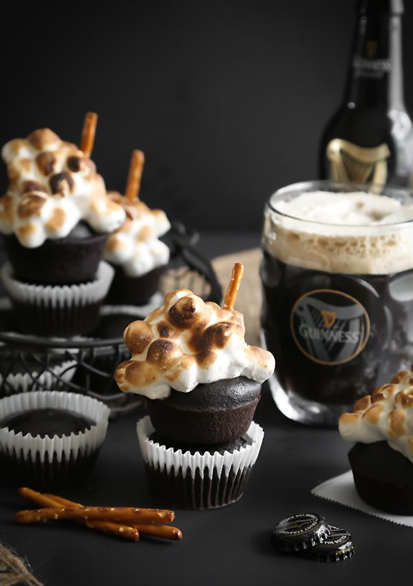 Sprinkle Bakes: Guinness Cupcakes with Toasted Beer Marshmallow Meringue