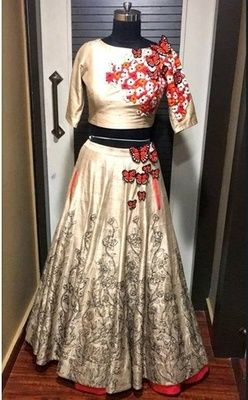 Designer Cream embroidered satin unstitched ghagra choli at Mirraw