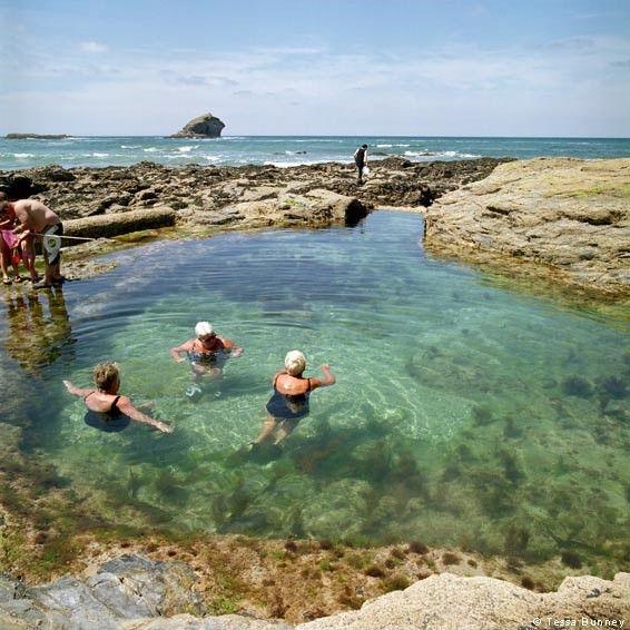 Polperro Beach Tidal Rockpool Cornwall
