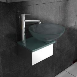 Möbel aus Glas / Milchglas Waschplatz / Designer Waschtisch / Alpenberger / Serie 40 / Gäste-WC / Bad / Badezimmer / Glasschale / Aufsatzschale / Badmöbel Glaswaschtisch