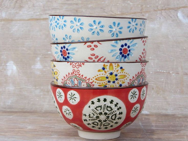 set of four patterned ceramic bowls by horsfall & wright | notonthehighstreet.com