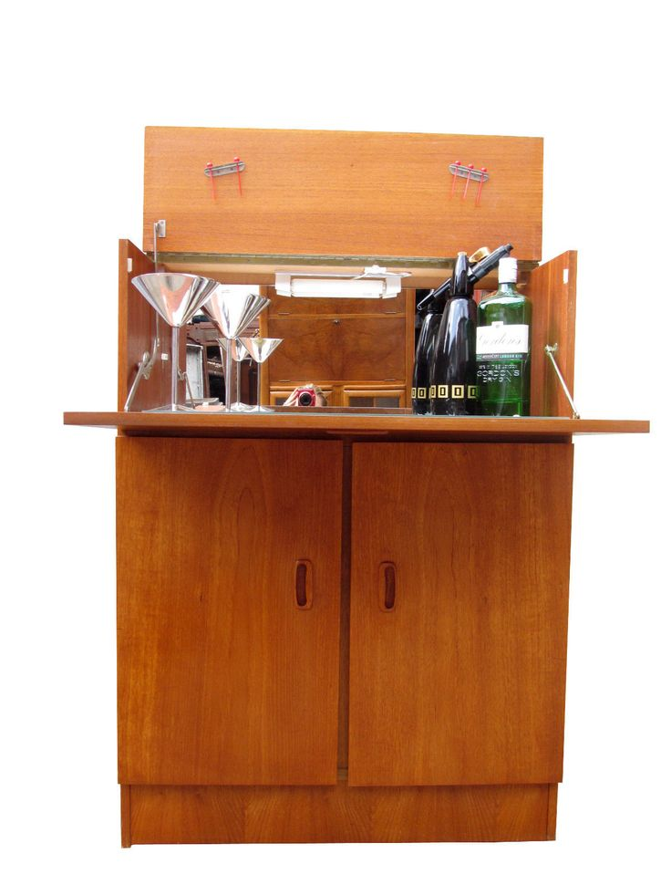 Teak mid century danish modern 1960s vintage drinks bar for Modern teak kitchen cabinets