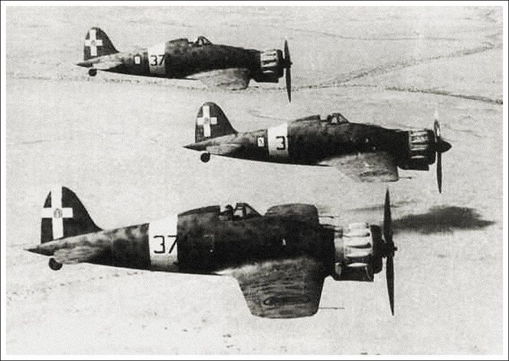 Macchi MC.200 Saetta fighters fly over the desert of North Africa: