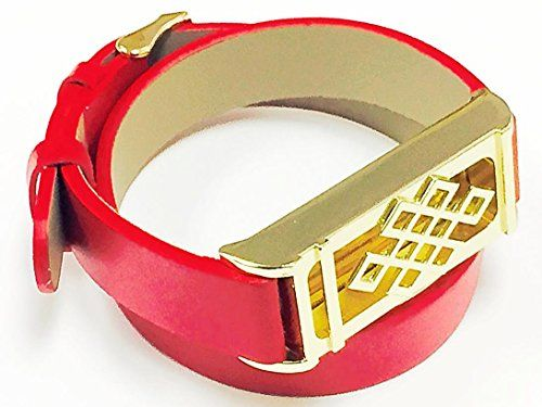 BSI Long Red Leather Straps Band With Metal Buckle Clasp And Gold Color Unique Design Metal Housing For Fitbit Flex Activity Tracker ** Read more reviews of the product by visiting the affiliate link Amazon.com on the image.