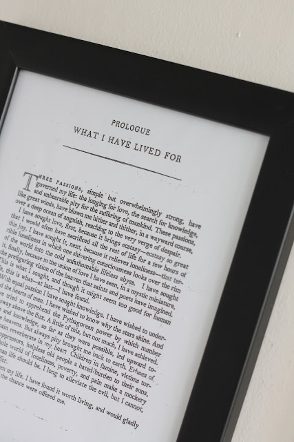 frame a favorite book passage as a gift or for decorating