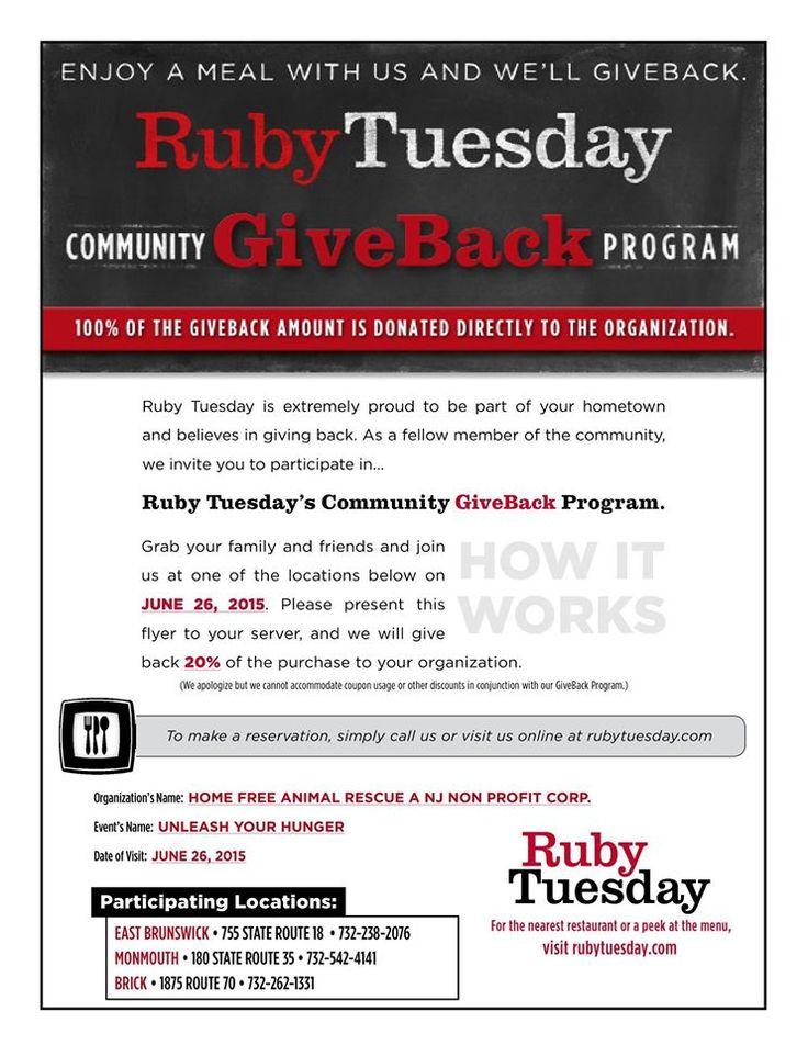 June 26th, 2015 PRINT OUT THE FLYER AND JOIN US at any of 3 locations - EAST BRUNSWICK, NJ / MONMOUTH MALL, NJ / BRICK, NJ Feed Your Hunger at Ruby Tuesdays with HOME FREE ANIMAL RESCUE