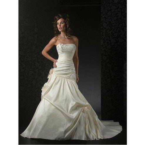 Taffeta Strapless Ruched Bodice with Mermaid Asymmetrical Pick up Skirt Custom Made Wedding Dress