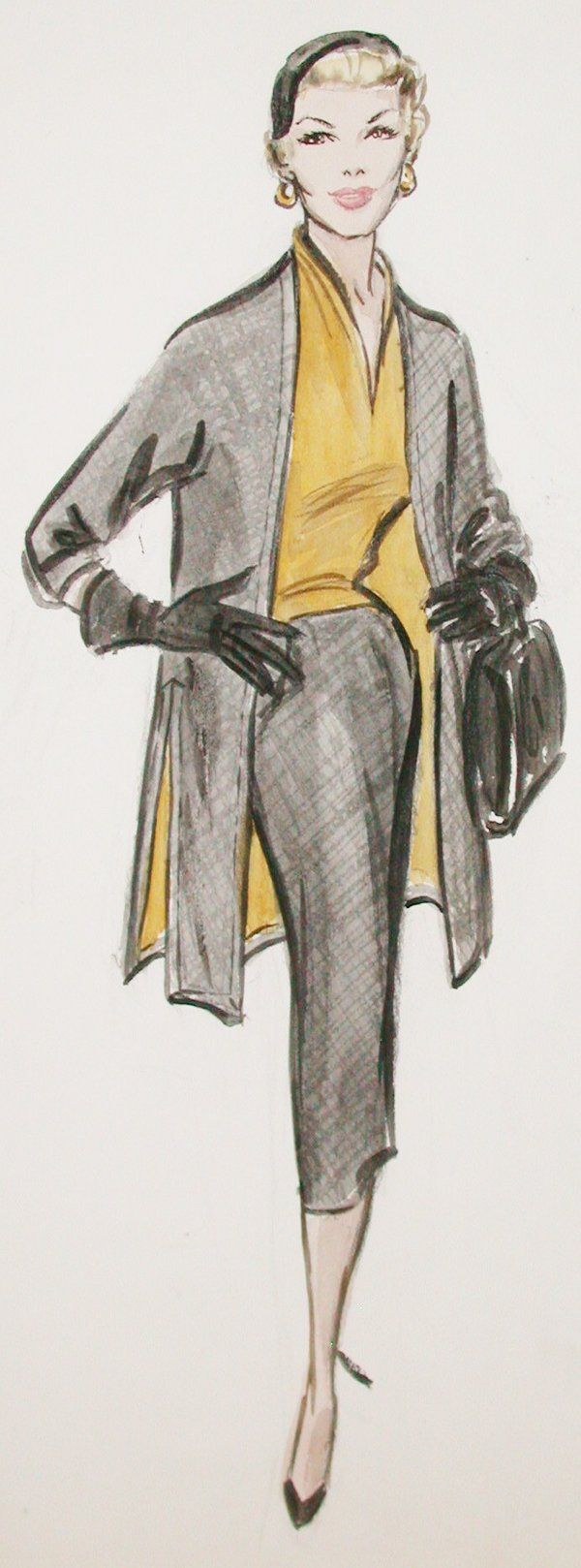 """Costume sketch of Edith Head design for Doris Day in the Alfred Hitchcock classic """"The Man Who Knew Too Much"""" (1956 Paramount)."""