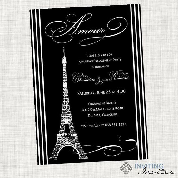Paris eiffel tower bridal shower invitation engagement for Paris themed invitations bridal shower