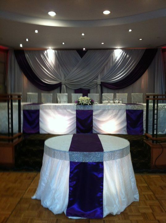 Wedding Reception Head Table Bling Ribbon Table