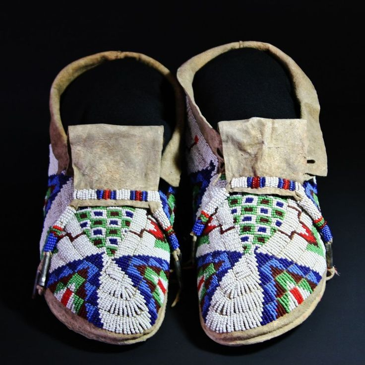 Native American Beaded Sioux Man's Moccasins from atozantiques on Ruby Lane