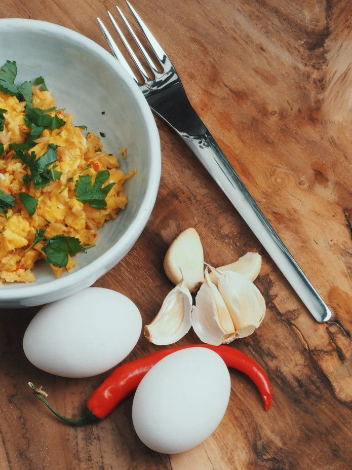 Scrambled eggs with ginger garlic and chilli