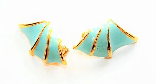 Turquoise Blue and Gold Coloured Wings Pierced Earrings