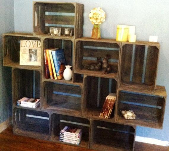 Large wooden crate bookshelf with brackets by DesignedForUse, $370.00
