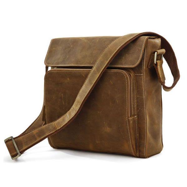 Vintage Leather Messenger Bag / Ipad Satchel