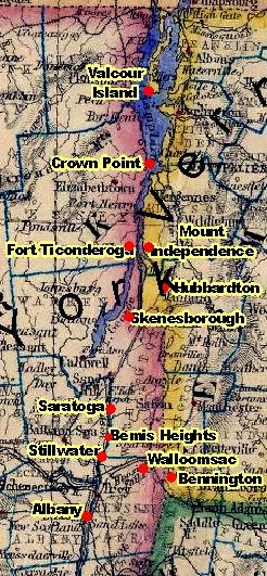 Revolutionary War historic sites.  Saratoga and Fort Ticonderoga as well as other important Outlander sites are noted.