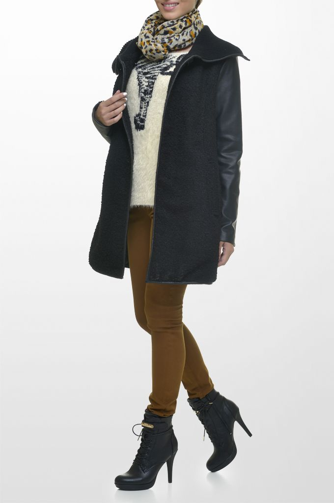 Sarah Lawrence - bouclé coat with fake leatheret details, bat sleeve sweater, five pocket skinny pant, printed scarf.