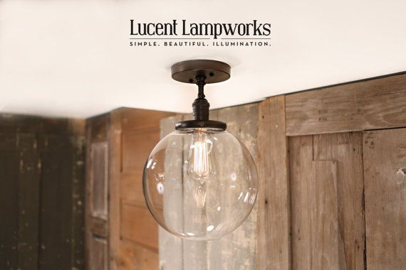 Flush Ceiling Lighting with Clear 10 Inch Globe von lucentlampworks