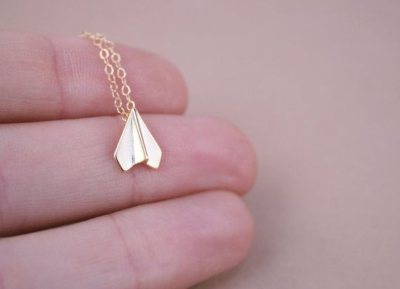 Tiny Gold Paper Airplane Necklace by amandadeer on Etsy, $26.00