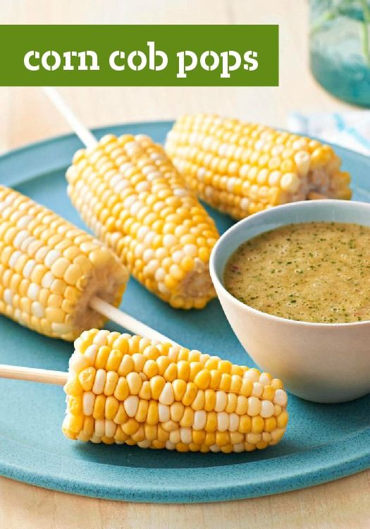 Corn Cob Pops — Enjoy hot corn on the cob without burning your fingers by conveniently cooking the corn on a kabob skewer
