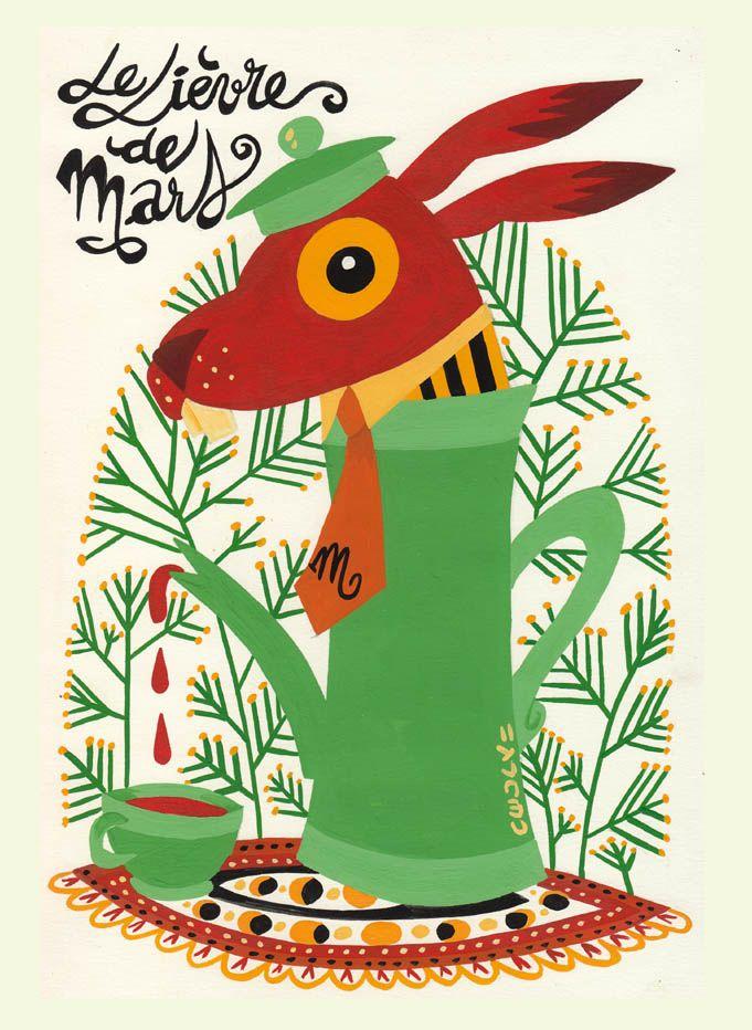 Le lièvre de Mars. Gouache sur papier. Cecily de Villepoix. Juillet 2013. http://cecilydevil.wix.com/site