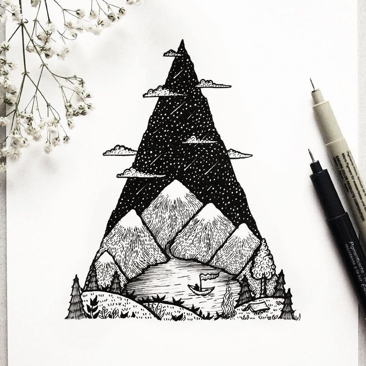 Line Art Mountain : Quot mountain lake a camping scenery tree