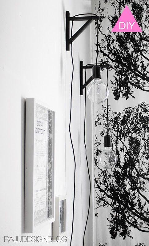 DIY lamp bracket http://rajudesignblog.blogspot.fi