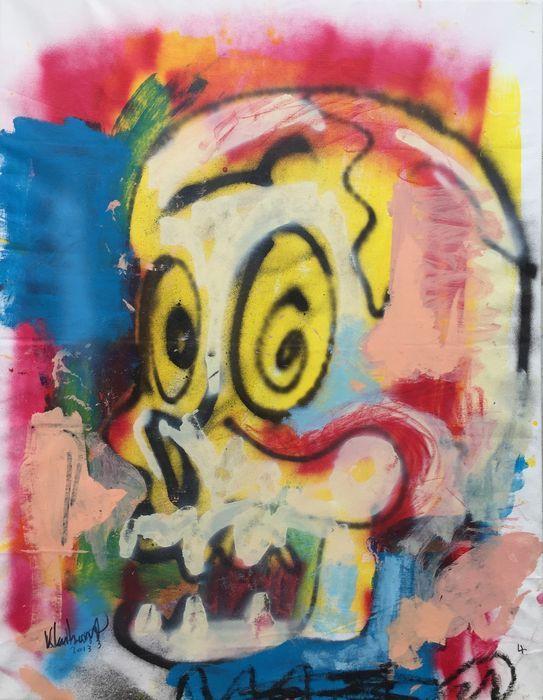 Peter Klashorst - Comic skull  Acrylverf werk van Peter Klashorst uit 2013. De afmeting van het schilderij is circa 90 x 70 cm. Het doek is reeds opgespannen op een houten frame.De gebruikte techniek is acrylverf op katoen. Let op: Als bewijs van echtheid ontvangt u bij dit originele werk de digitale foto waarop Peter zelf het werk in handen heeft (zie foto 2). Dit is voor u de garantie dat u geen vals werk koopt.  EUR 1.00  Meer informatie